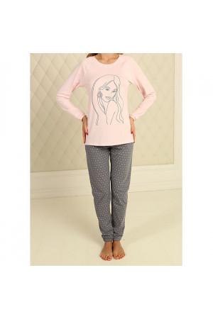 Піжама П-М-58 рожевого кольору в горошок