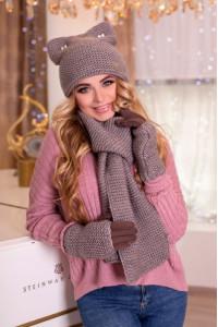 Комплект «Габріелла» (шарф, шапка, рукавички) кольору темної кави