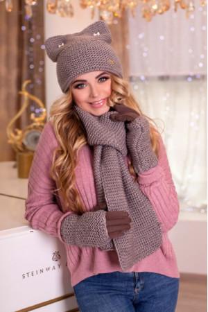 Комплект «Габриэлла» (шапка, шарф, перчатки) цвета темного кофе