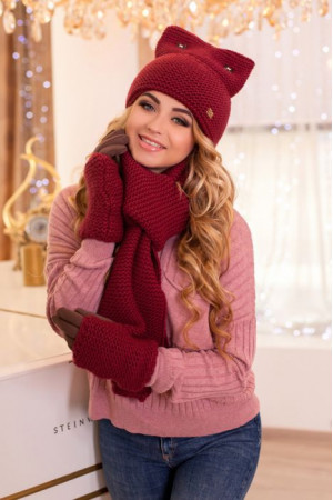 Комплект «Габриэлла» (шапка, шарф, перчатки) бордового цвета
