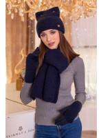 Комплект «Габриэлла» (шапка, шарф, перчатки) джинсового цвета