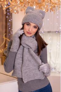 Комплект «Габріелла» (шарф, шапка, рукавички) світло-сірого кольору