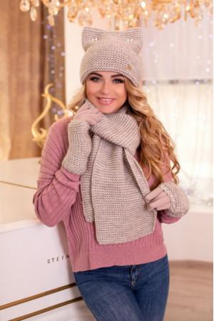 Комплект «Габриэлла» (шапка, шарф, перчатки)  цвета светлого кофе