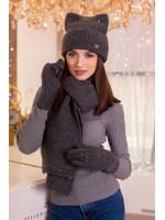 Комплект «Габріелла» (шарф, шапка, рукавички) темно-сірого кольору