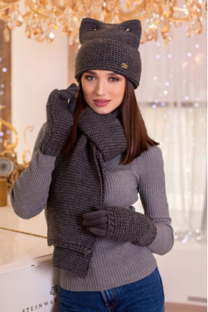 Комплект «Габриэлла» (шапка, шарф, перчатки)  темно-серого цвета