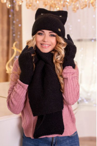 Комплект «Габріелла» (шарф, шапка, рукавички) чорного кольору