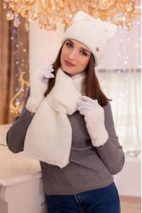 Комплект «Габріелла» (шарф, шапка, рукавички) білого кольору