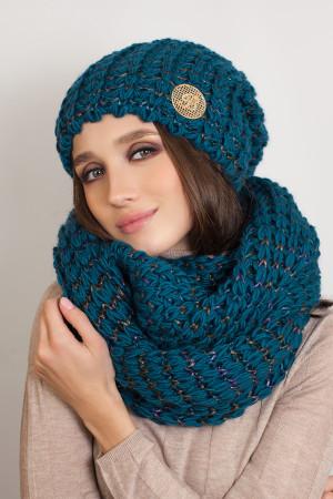 Комплект «Космея» (шапка та шарф-снуд) кольору віридіан з фіолетовим