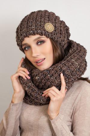 Комплект «Космея» (шапка та шарф-снуд) світло-коричневого кольору з шоколадним