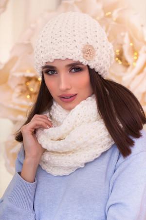 Комплект «Космея» (шапка та шарф-снуд) білого кольору