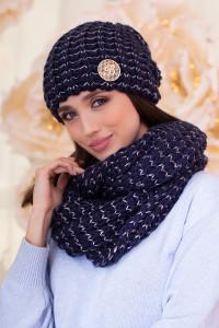 Комплект «Космея» (шапка и шарф-снуд) джинсового цвета с маренго