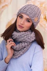 Комплект «Космея» (шапка и шарф-снуд) светло-серого цвета с серебром