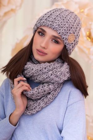 Комплект «Космея» (шапка та шарф-снуд) світло-сірого кольору з сріблом