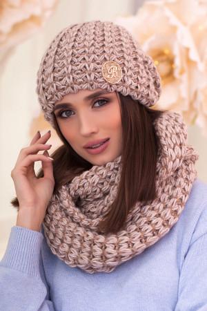 Комплект «Космея» (шапка та шарф-снуд) кольору світлої кави з золотом
