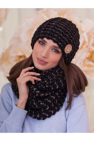 Комплект «Космея» (шапка та шарф-снуд) чорного кольору з графітовим