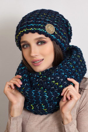Комплект «Космея» (шапка та шарф-снуд) кольору джинс з бірюзою