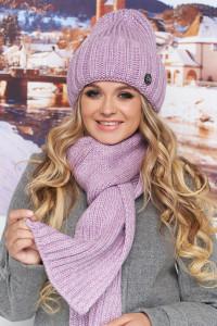 Комплект «Наомі» (шапка, шарф) бузкового кольору