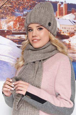 Комплект «Наоми» (шапка, шарф) цвета темного кофе