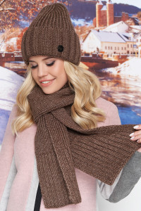 Комплект «Наомі» (шапка, шарф) світло-коричневого кольору