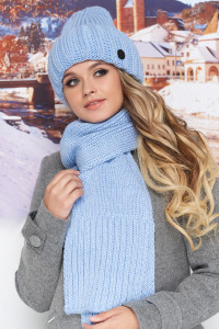 Комплект «Наомі» (шапка, шарф) блакитного кольору