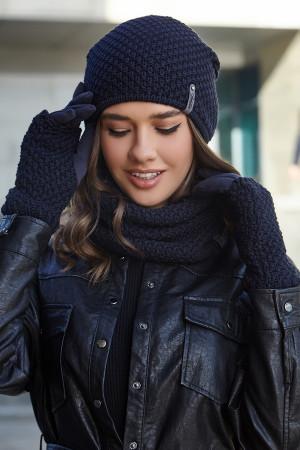 Комплект «Осірія» (шапка, баф, рукавички) джинсового кольору