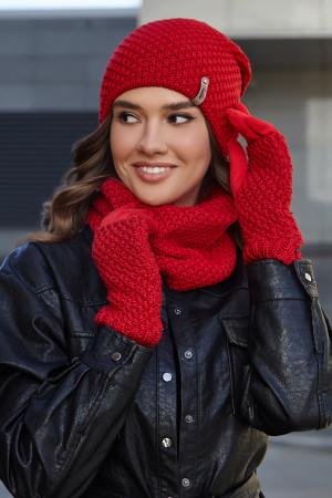 Комплект «Осирия» (шапка, баф, перчатки) красного цвета