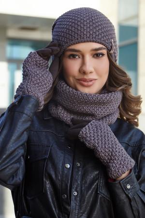 Комплект «Осирия» (шапка, баф, перчатки) цвета темного кофе