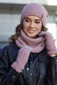 Комплект «Осірія» (шапка, баф, рукавички) кольору темної пудри