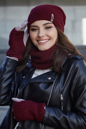 Комплект «Осирия» (шапка, баф, перчатки) бордового цвета