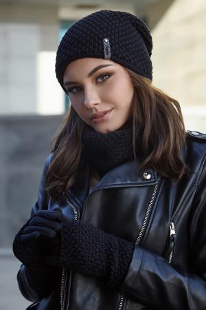 Комплект «Осирия» (шапка, баф, перчатки) черного цвета