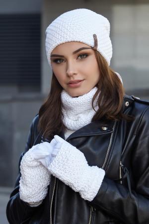 Комплект «Осірія» (шапка, баф, рукавички) білого кольору