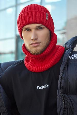 Чоловічий комплект «Канзас» (шапка, шарф-снуд) червоного кольору