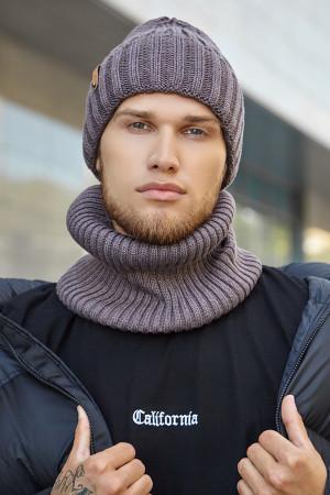 Чоловічий комплект «Пейтон» (шапка, шарф-снуд) кольору темної кави