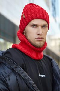 Чоловічий комплект «Пейтон» (шапка, шарф-снуд) червоного кольору