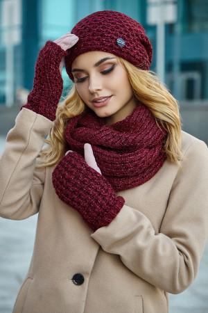Комплект «Миледи» (шапка, снуд, перчатки) бордового цвета