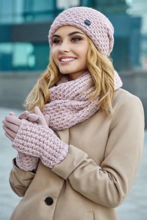 Комплект «Міледі» (шапка, снуд, рукавички) кольору пудри