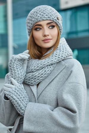Комплект «Міледі» (шапка, снуд, рукавички) світло-сірого кольору