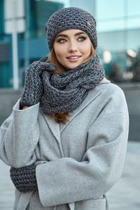 Комплект «Міледі» (шапка, снуд, рукавички) темно-сірого кольору