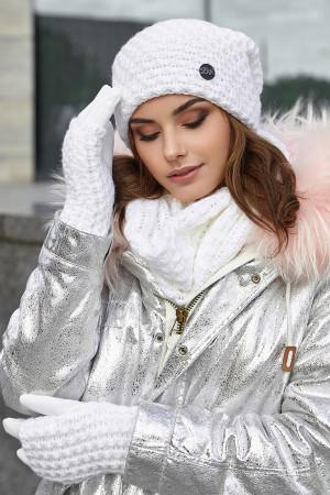 Комплект «Міледі» (шапка, снуд, рукавички) білого кольору