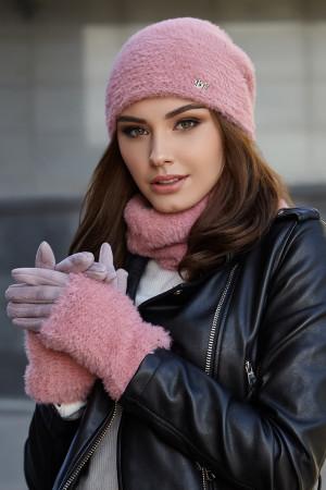 Комплект «Енні» (шапка, баф, рукавички) кольору пудри