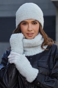 Комплект «Енні» (шапка, баф, рукавички) світло-сірого кольору