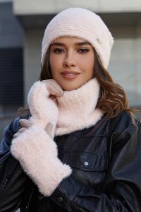 Комплект «Енні» (шапка, баф, рукавички) кремового кольору