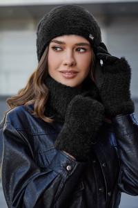 Комплект «Енні» (шапка, баф, рукавички) чорного кольору