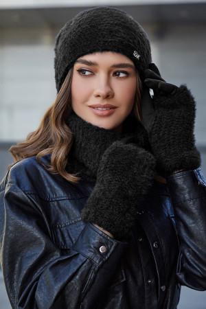 Комплект «Энни» (шапка, баф, перчатки) черного цвета