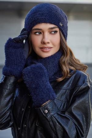 Комплект «Енні» (шапка, баф, рукавички) джинсового кольору