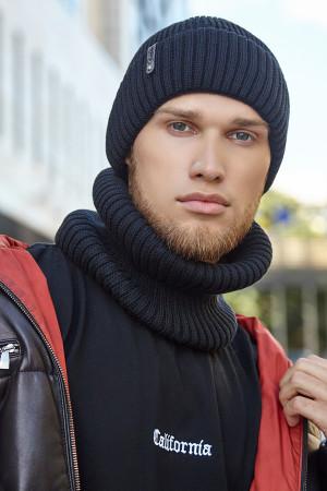 Мужской комплект «Итан» (шапка, шарф-хомут) черного цвета