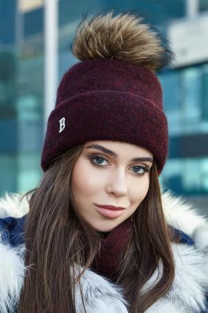 Комплект «Лісбет» (шапка та шарф-хомут) бордового кольору