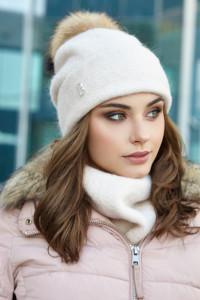 Комплект «Лісбет» (шапка та шарф-хомут) перлинного кольору