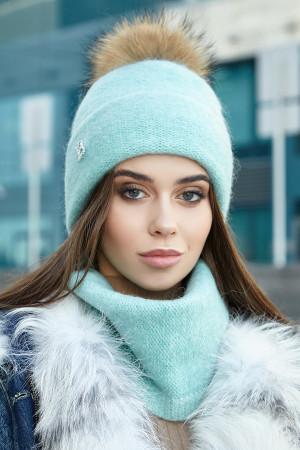 Комплект «Лісбет» (шапка та шарф-хомут) м'ятного кольору