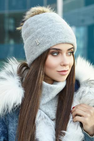 Комплект «Лісбет» (шапка та шарф-хомут) світло-сірого кольору